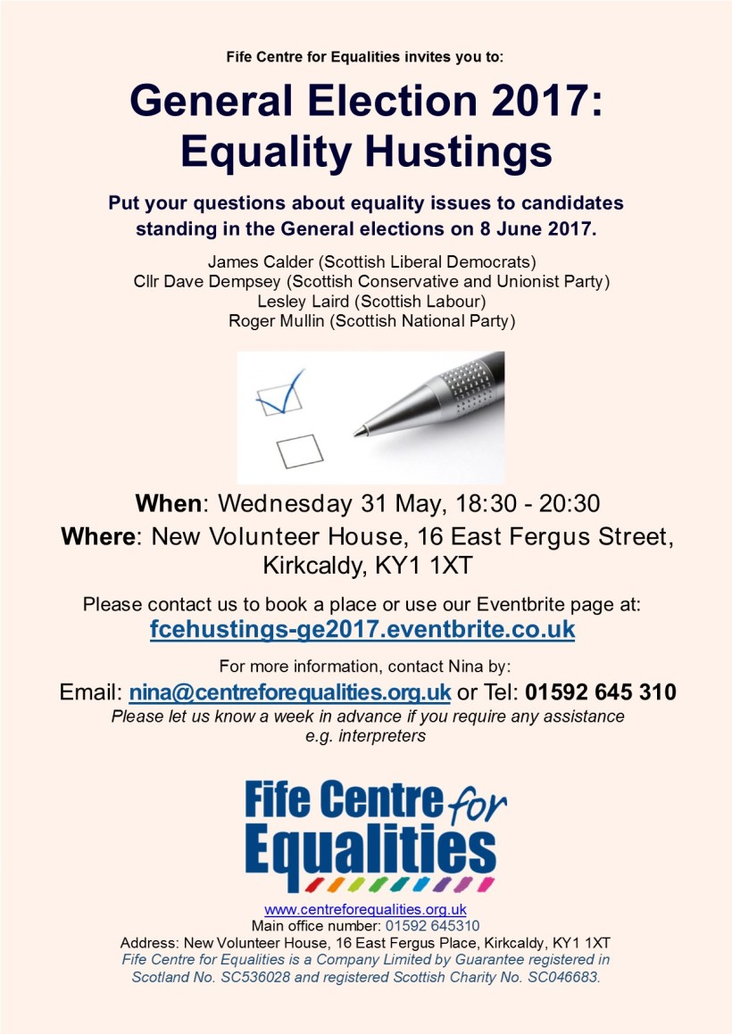 GE17 FCE Equality Hustings flyer